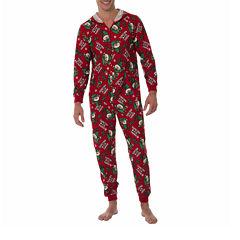Onesie Fleece One Piece Pajama Red Elf Print- Men's