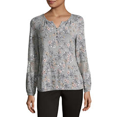 Liz Claiborne Long Sleeve Split Neck Floral T-Shirt-Womens
