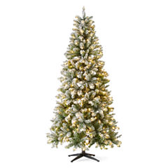 North Pole Trading Co. 7 Foot Bristol Pre-Lit Flocked Christmas Tree