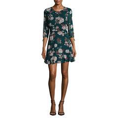 Speechless 3/4 Sleeve Floral A-Line Dress-Juniors