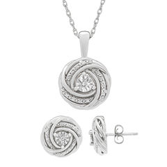 Womens 1/10 CT. T.W. White Diamond Sterling Silver Jewelry Set