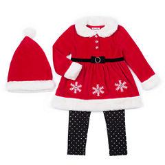 Little Lass Santa 3-pc. Legging Set with Hat- Preschool Girls