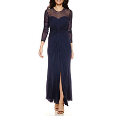 Blu Sage Long-Sleeve Mesh Front-Twist Evening Gown