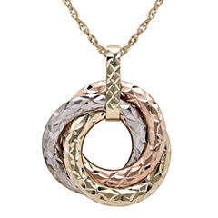 Infinite Gold™ 14K Tri-Tone Gold 3-Circle Pendant Necklace