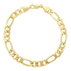 Made in Italy 14K Yellow Gold Hollow Figaro Chain Bracelet