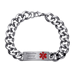 Personalized Mens Stainless Steel Medical ID Bracelet