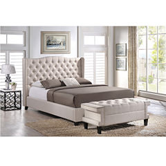Baxton Studio Norwich Upholstered Linen Platform Bed and Bench