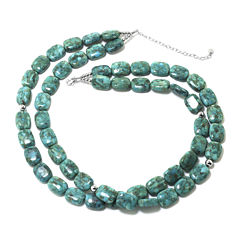 Enhanced Turquoise Double-Row Rectangle Stone Necklace