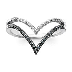 1/5 CT. T.W. White & Color-Enhanced Black Diamond 10K White Gold Chevron Ring
