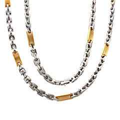 Mens Two-Tone Stainless Steel Link Necklace
