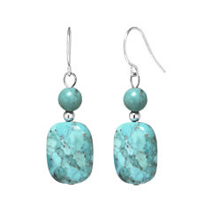 Enhanced Turquoise Rectangle Stone Drop Earrings