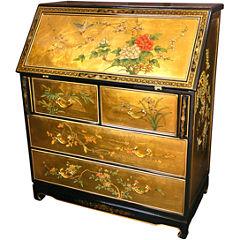 Oriental Furniture Gold Leaf Secretary Desk