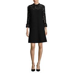 Worthington Long Sleeve Embellished Shift Dress