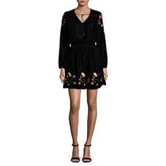 a.n.a  Long Sleeve Embroidered Velvet Dress