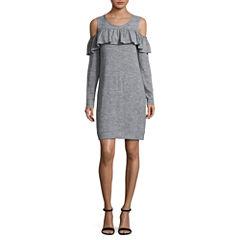 a.n.a Ruffle Cold Shoulder Sweatshirt Dress