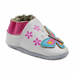 Soft Sole Leather Crib Bootie Baby Shoes - Blooming Butterfly