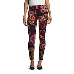 Mixit Burgundy Floral Print Knit Leggings