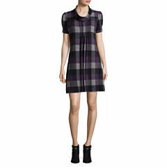 Jessica Howard Short Cowl-Neck Sleeve Sweater Dress-Petites