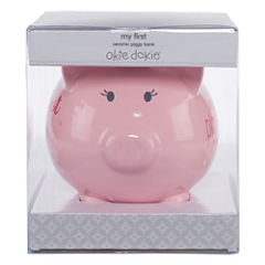Okie Dokie Ceramic Piggy Bank - Girls