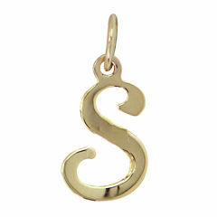 Personalized 14K Yellow Gold Initial S Pendant Necklace
