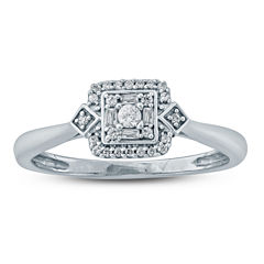 Womens 1/6 CT. T.W. Genuine Multi-Shape White Diamond 10K Gold Promise Ring