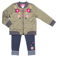 Little Lass Olive Bomber Jacket with Denim Legging Set -Preschool Girls