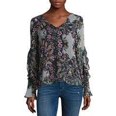 by&by Long Sleeve V Neck Chiffon Floral Blouse-Juniors