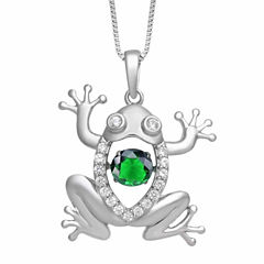 Love in Motion Womens Simulated Emerald Sterling Silver Pendant Necklace