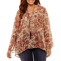 Unity World Wear Long Sleeve Scoop Neck Woven Floral Blouse-Plus
