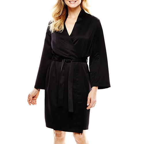 Ambrielle® Long-Sleeve Satin Robe
