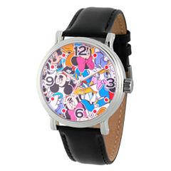 Disney Mickey Mouse Mens Black Strap Watch-Wds000343