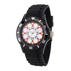 Disney Mickey Mouse Mens Black Strap Watch-Wds000365