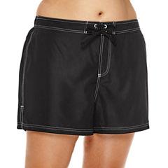 ZeroXposur® Woven Swim-Bottom Board Shorts - Plus