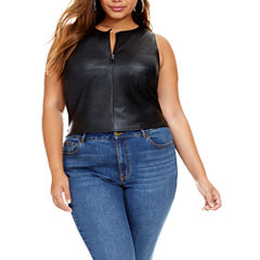 Fashion To Figure April Sleeveless Leather Front Crop Top - Plus