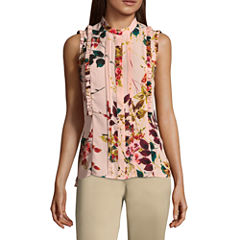 Worthington Sleeveless Button Front Ruffle Top