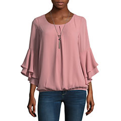 Alyx 3/4 Sleeve Round Neck Crepe Blouse