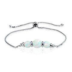 Womens White Opal Sterling Silver Bolo Bracelet