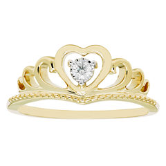 Enchanted Fine Jewelry  By Disney Enchanted By Disney Womens Genuine Round Diamond Accent 10K Gold Promise Ring