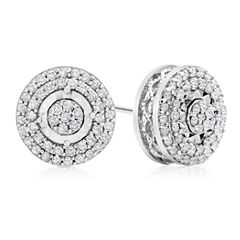 1/2 CT. T.W. Round White Diamond Sterling Silver Stud Earrings