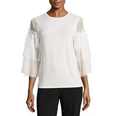 Worthington 3/4 Sleeve Scoop Neck T-Shirt-Womens