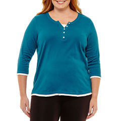 St. John's Bay Active® 3/4 Sleeve Scoop Neck T-Shirt-Plus
