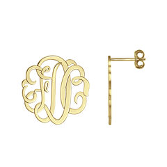 Personalized 14K Gold Over Sterling Silver Monogram Earrings