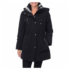 Fleet Street Faux-Silk Anorak with Faux-Fur Trim Collar