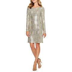 Jessica Howard Long Sleeve Stripe Sheath Dress