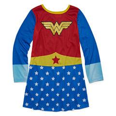 Warner Brothers Long Sleeve Wonder Woman Nightgown-Big Kid Girls