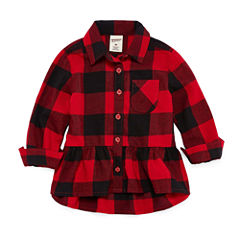 Arizona Long Sleeve Flannel Shirt-Baby Girls