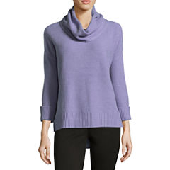 Liz Claiborne 3/4 Sleeve Cowl Neck Pullover Sweater