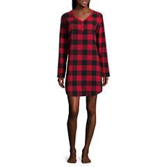 North Pole Trading Co. Family Pajamas Knit Long Sleeve Plaid Nightshirt-Women's