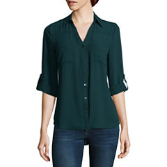 by&by 3/4 Sleeve Crepe Blouse-Juniors