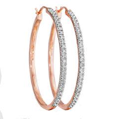¼ CT. T.W. Diamond 14K Rose Gold Over Sterling Silver Hoop Earrings